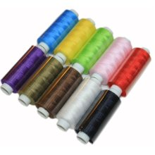 Set of 10  Assorted Spools of Polyester Sewing Thread 400 Yards Each
