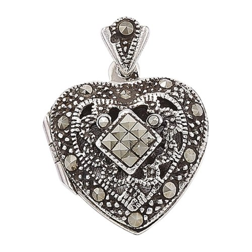 Childrens Sterling Silver Marcasite Heart Locket On A Curb Necklace