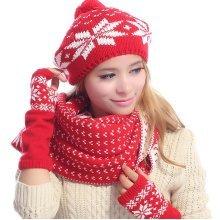 Women Warm Kintted Hat Scarves Gloves Set