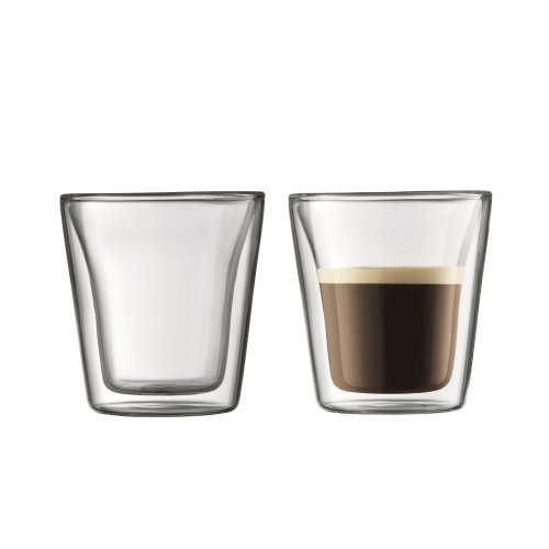 BODUM Canteen Double Wall Glass Set, Mouth Blown Borosilicate Glass - 0.1 L, Transparent, Pack of 2