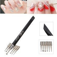 Black Nail Dotting Drawing Pen Holder Tool With Replaceable 6Pcs Pens Heads