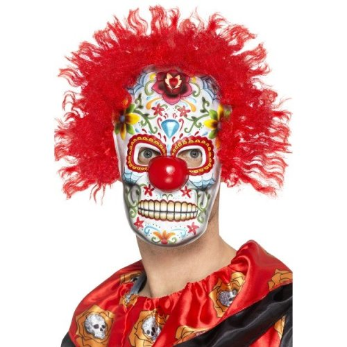 Smiffy's 48132 Day Of The Dead Clown Mask (one Size) -  day dead clown mask fancy dress freaky halloween adult costume accessory eva multi colour