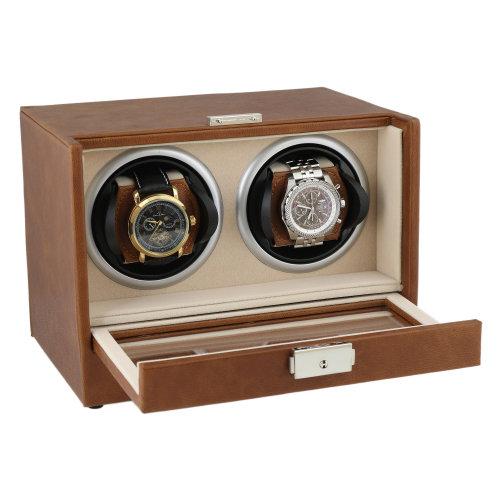 Brown Genuine Leather Dual Watch Winder Beige Velvet Lining by Aevitas