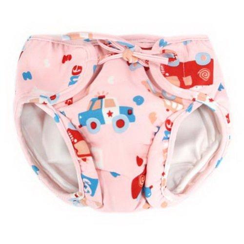 Baby Swim Trunks 0-3 Infants Waterproof Swimsuit Leakproof Swim Shorts, Pink Car