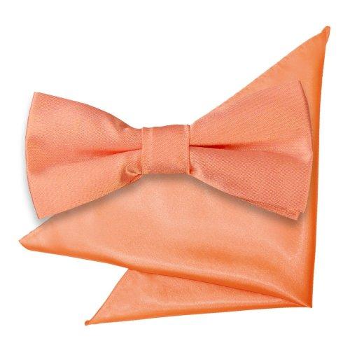 Coral Plain Satin Bow Tie & Pocket Square Set for Boys