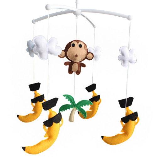 Tropical Scenery Baby Crib Rotatable Plush Musical Mobile Baby Crib Toy