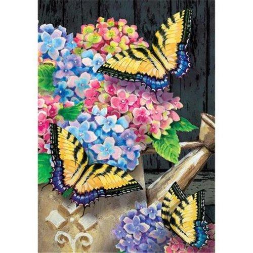 Hydrangea Butterflies Double Sided House Flag