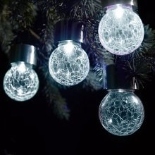 Solalite Set of 9 Solar Hanging Crackle Ball Globe Lights Outdoor Garden Party - White LED