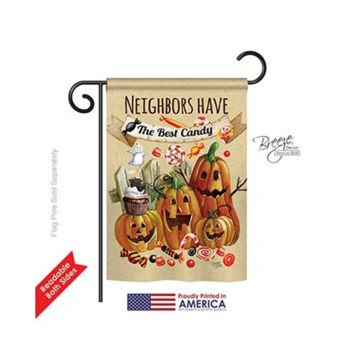 Breeze Decor 62067 Halloween Neighbors Candy 2-Sided Impression Garden Flag - 13 x 18.5 in.