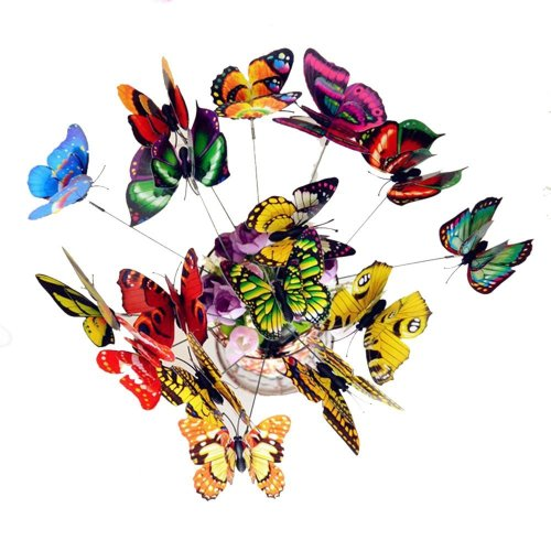 Librao 50 Pieces Colorful Garden Butterflies Patio on Sticks Butterfly Stakes Ornaments for Outdoor Yard Garden Plant Decorations