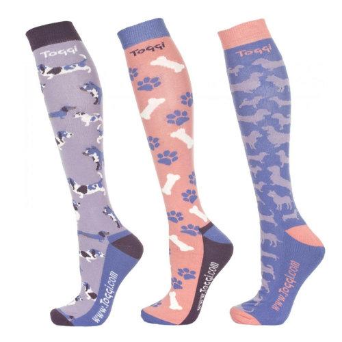 Toggi Tatjana Ladies 3 Pack of Socks Dog Design Pattern Lilac, Size 4-8