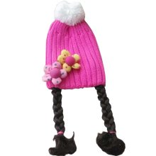 [Pink] Cute Baby Girl Knitted Hat Kids Cap with Braids