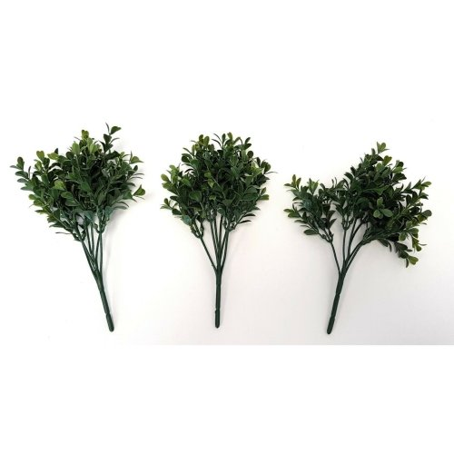 Set of 3 Artificial Boxwood Picks - 25cm Green Foliage - UV Resistant