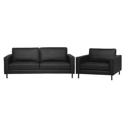 Lather Living Room Set Black SAVALEN