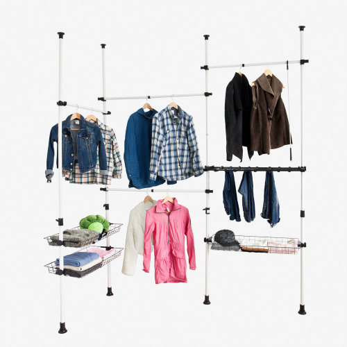 SoBuy® FRG38, Adjustable Hanging Rail Clothes Rack Wardrobe Organiser