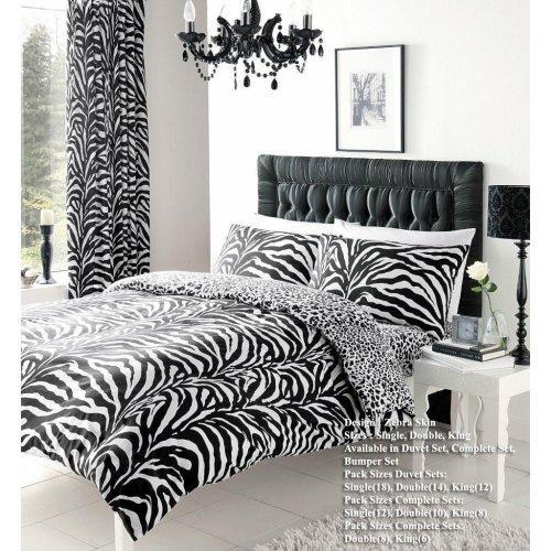 Zebra Skin Printed Duvet Cover Floral Bedding Set Single Double King Super King