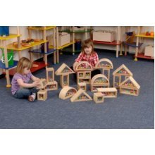 Childrens Wooden Pom Pom Building Blocks Set of 24 (A1498)