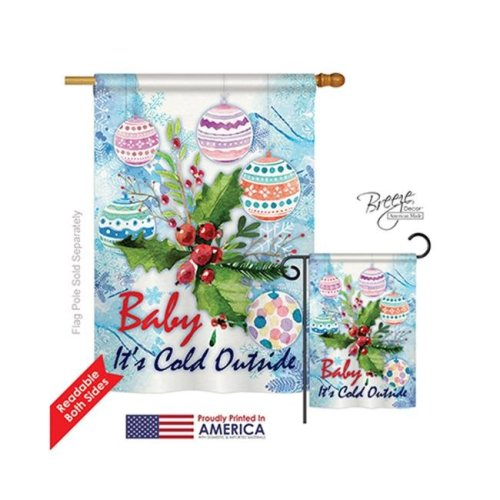 Breeze Decor 14005 Winter Baby Its Cold 2-Sided Vertical Impression House Flag - 28 x 40 in.