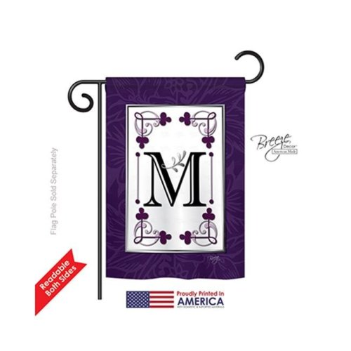 Breeze Decor 80013 Classic M Monogram 2-Sided Impression Garden Flag - 13 x 18.5 in.