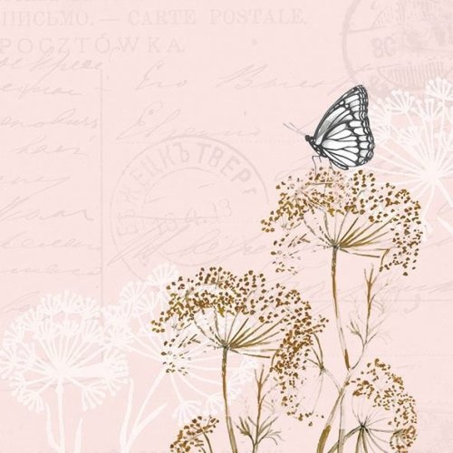 4 x Paper Napkins - Butterfly Branches Rose - Ideal for Decoupage / Napkin Art