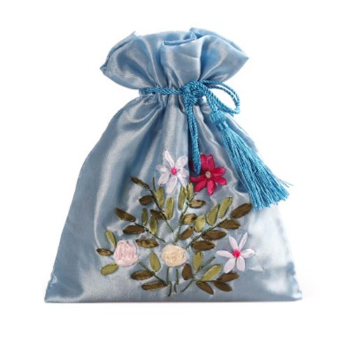 Gorgeous Wedding Gift Bag Ribbon Embroidery Jewelry Organizer Pouch Bags, Pattern Random(A)