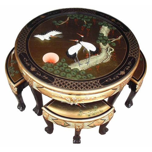 Chinese Gold Lacquer Table Set