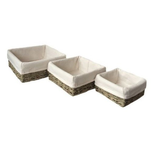 Enjoyable Set Of 3 Cotton Lined Square Seagrass Tray Squirreltailoven Fun Painted Chair Ideas Images Squirreltailovenorg