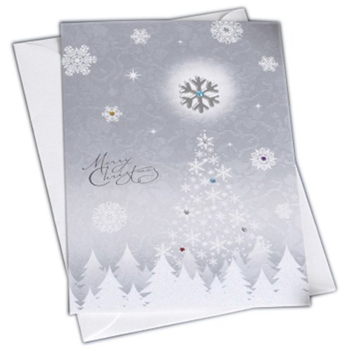 Christmas Cards Greeting Cards Christmas Gift Xmas Cards (4 Cards and Envelopes), Silver # 13