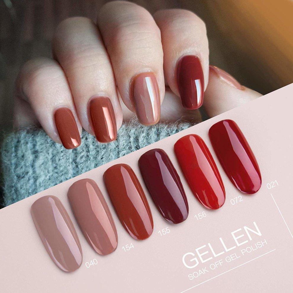 e6eff4ca6f ... Gellen Gel Nail Polish Kit Caramel Colour Series - 8ml 6 Colours, Long  Lasting UV ...