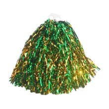 4 Pieces Plastic Ring Cheerleading Pom/Creative School Spirit Pom, Green&Gold