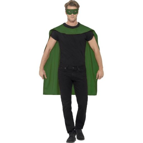 Smiffy's Unisex Cape And Eye Mask Set (green) -  cape superhero fancy dress mask mens outfit adult ladies set costume halloween
