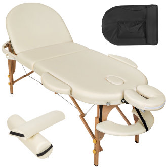 Massage table oval with 5 cm padding + rolls beige