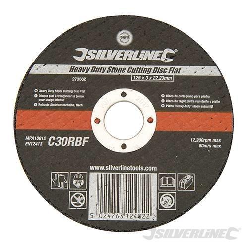 Silverline Heavy Duty Stone Cutting Disc Flat 125 x 3 x 22.23mm -  heavy duty stone cutting grinder 125mm discs silverline flat 110pk brick
