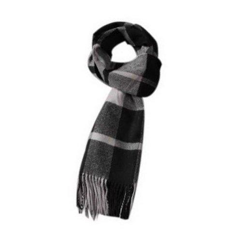 Classic Black Gray Lattice Style Winter Warm Scarf, Valentine's Day Gift For Men