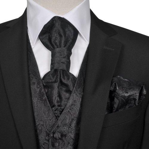 Men's Black Paisley Wedding Party Prom Cruise Waistcoat &Tie Set Suit Size 50
