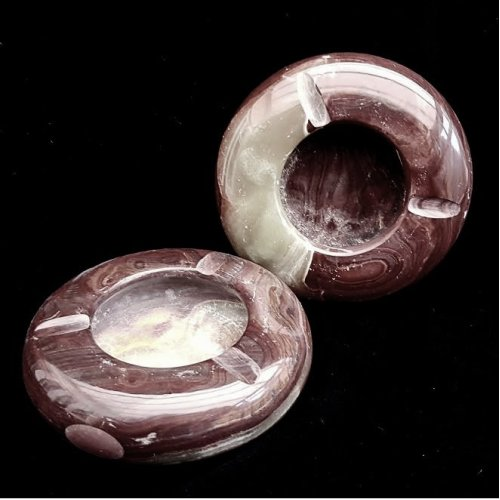 Pair of Onyx Marble Ashtrays