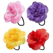 Hair Flower With Elastic (yellowithred/pink/purple) Accessory For Fancy Dress -  flower hair hibiscus bands hawaiian accessories tie jewelry