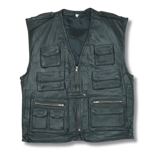 Multi Pocket Multi Functional Leather Waistcoat