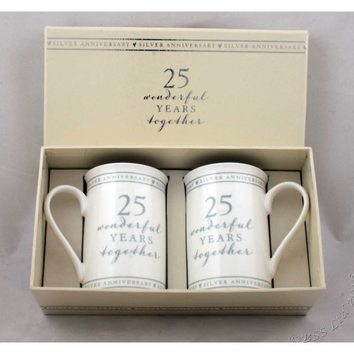 25th Silver Wedding Anniversary Mugs Gift Set WG670