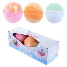 Handmade Bath Bomb Set of 3 - Fruity Scents in Pug Gift Box