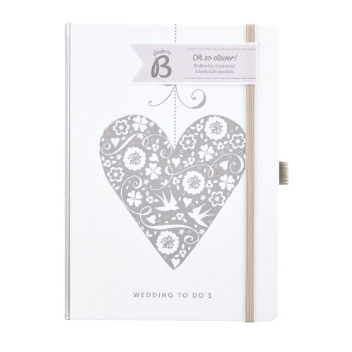 Busy B Wedding Planner To Do Notes Book - Silver Heart - Perfect As An Engagement Gift