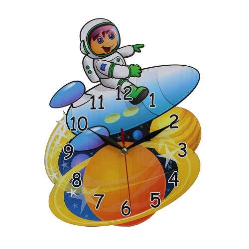 Home Decoration Childrens Bedroom MDF Spaceman Shaped Wall Clock