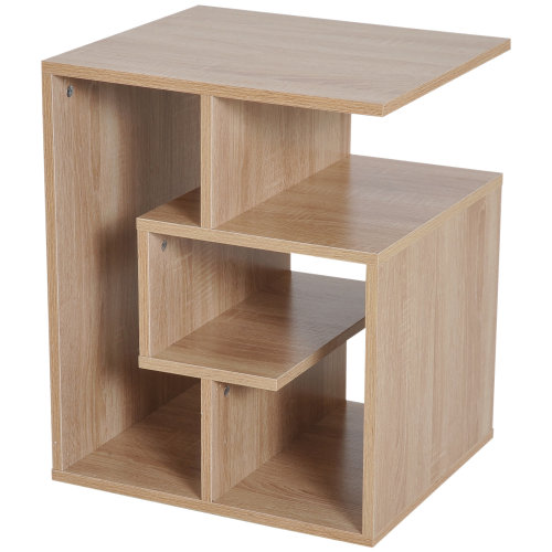 HOMCOM Wooden Side End Table Coffee Table Desk Open Storage Shelves Book Magazine Shelving Organiser Unit for Living Room (Oak Colour)