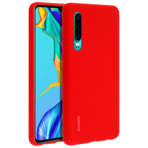 Huawei P30 Hard Protective Car Case Metal Plate - Red