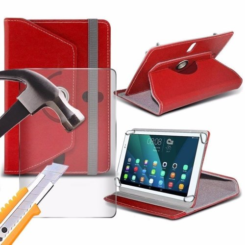 Itronixs - Acer Iconia A1-810-l497 (8 Inch) Tablet Case Premium Pu 360 Rotating Leather Wallet with Tempered Glass Lcd Screen Protector Guard