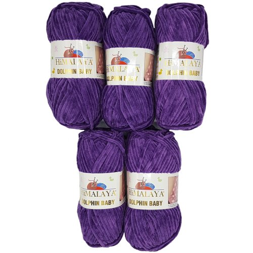 5 x 100 g Himalaya dolphin baby wool, knitting wool, yarn, knitting wool, 500 g, super bulky, purple, 35_x_25 CM
