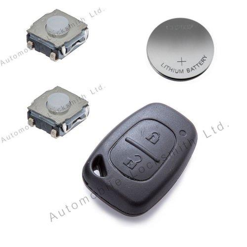 DIY Repair Kit - for Vauxhall Renault Nissan 2 button remote key refurbishment