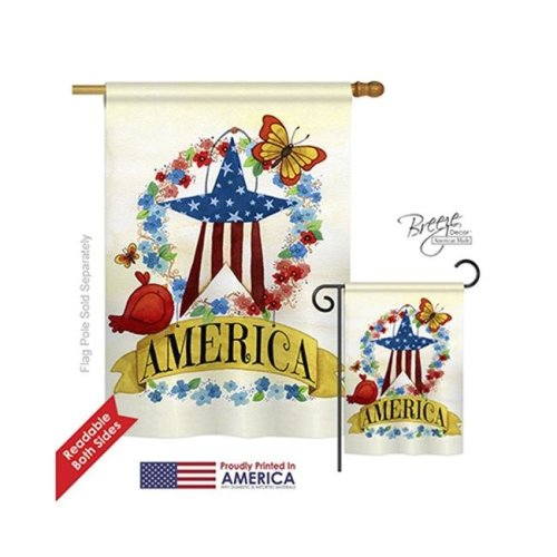 Breeze Decor 11073 Patriotic America Banner Star 2-Sided Vertical Impression House Flag - 28 x 40 in.