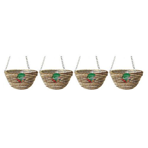 4 X Kingfisher Hb12Rr 12-Inch/30  cm Rope Hanging Basket - Beige