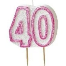 Age 40 Birthday Candle Pink Glitz